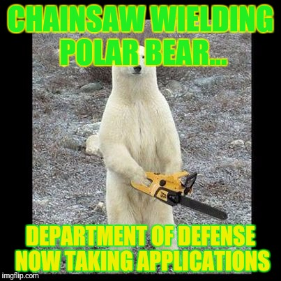 Chainsaw Bear Meme | CHAINSAW WIELDING POLAR BEAR... DEPARTMENT OF DEFENSE NOW TAKING APPLICATIONS | image tagged in memes,chainsaw bear | made w/ Imgflip meme maker