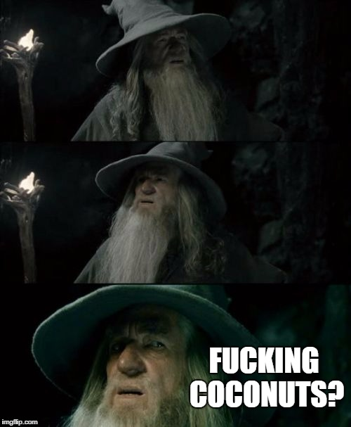 Confused Gandalf Meme | F**KING COCONUTS? | image tagged in memes,confused gandalf,AdviceAnimals | made w/ Imgflip meme maker