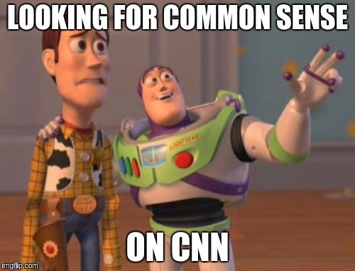 Common sense | LOOKING FOR COMMON SENSE ON CNN | image tagged in memes,x,x everywhere,x x everywhere,cnn fake news,cnn sucks | made w/ Imgflip meme maker