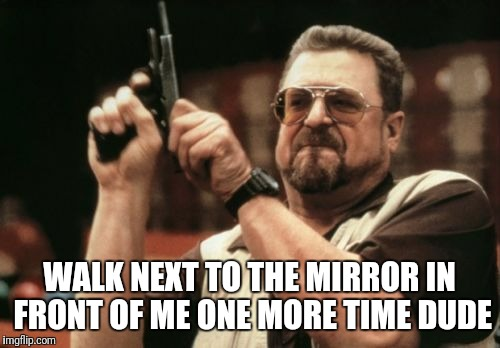 Mirror gainzzz | WALK NEXT TO THE MIRROR IN FRONT OF ME ONE MORE TIME DUDE | image tagged in memes,am i the only one around here | made w/ Imgflip meme maker