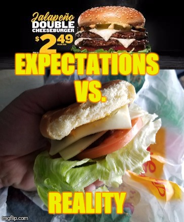 Welcome to Carl's Jr. | EXPECTATIONS VS. REALITY | image tagged in hamburger,cheeseburger,fast food | made w/ Imgflip meme maker