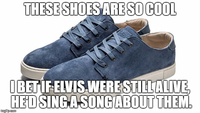 THESE SHOES ARE SO COOL I BET IF ELVIS WERE STILL ALIVE, HE'D SING A SONG ABOUT THEM. | image tagged in blue suede shoes | made w/ Imgflip meme maker