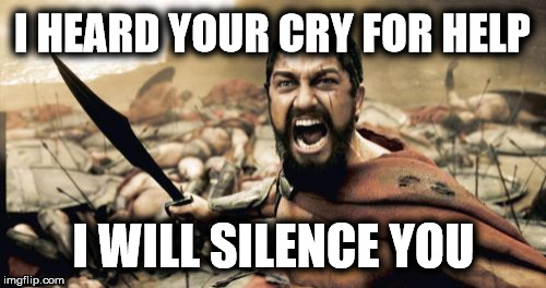 Sparta Leonidas Meme | I HEARD YOUR CRY FOR HELP I WILL SILENCE YOU | image tagged in memes,sparta leonidas | made w/ Imgflip meme maker