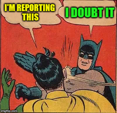 Batman Slapping Robin Meme | I'M REPORTING THIS I DOUBT IT | image tagged in memes,batman slapping robin | made w/ Imgflip meme maker