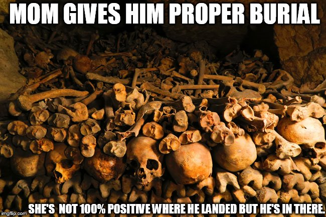 MOM GIVES HIM PROPER BURIAL SHE'S  NOT 100% POSITIVE WHERE HE LANDED BUT HE'S IN THERE. | made w/ Imgflip meme maker