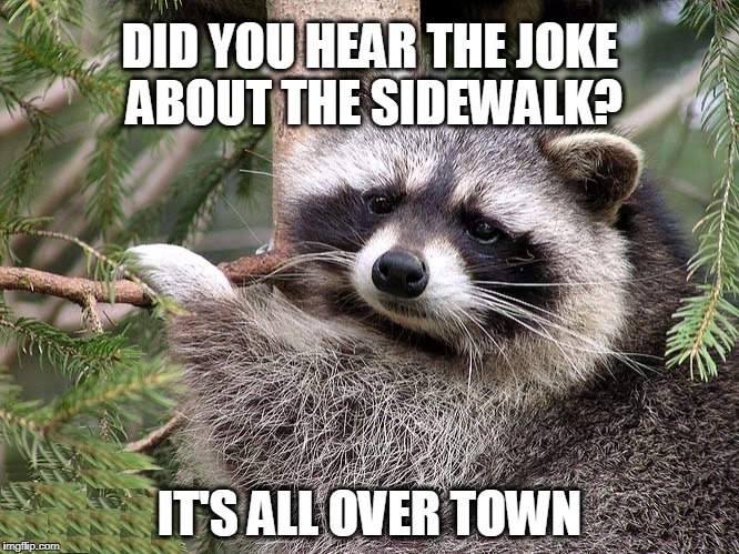 Nuthin' concrete though... | DID YOU HEAR THE JOKE ABOUT THE SIDEWALK? IT'S ALL OVER TOWN | image tagged in lame pun coon,bad joke | made w/ Imgflip meme maker