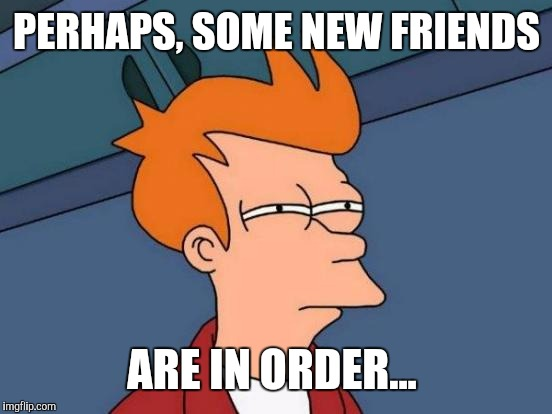Futurama Fry Meme | PERHAPS, SOME NEW FRIENDS ARE IN ORDER... | image tagged in memes,futurama fry | made w/ Imgflip meme maker