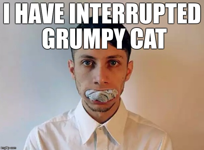 I HAVE INTERRUPTED GRUMPY CAT | image tagged in oral sock-ing | made w/ Imgflip meme maker