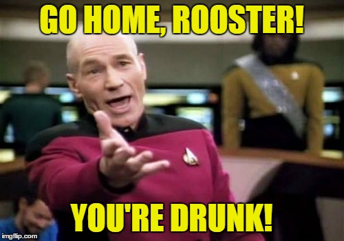 Picard Wtf Meme | GO HOME, ROOSTER! YOU'RE DRUNK! | image tagged in memes,picard wtf | made w/ Imgflip meme maker
