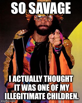 Macho Man Randy Savage | SO SAVAGE I ACTUALLY THOUGHT IT WAS ONE OF MY ILLEGITIMATE CHILDREN. | image tagged in macho man randy savage | made w/ Imgflip meme maker