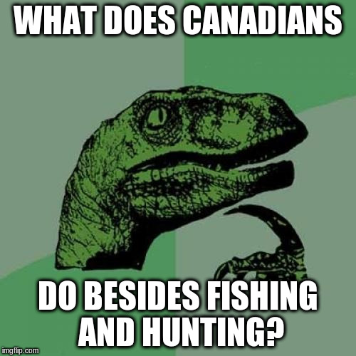 Philosoraptor Meme | WHAT DOES CANADIANS DO BESIDES FISHING AND HUNTING? | image tagged in memes,philosoraptor | made w/ Imgflip meme maker