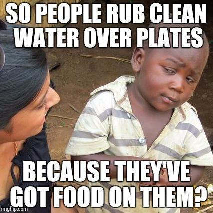 What a waste! | SO PEOPLE RUB CLEAN WATER OVER PLATES BECAUSE THEY'VE GOT FOOD ON THEM? | image tagged in memes,third world skeptical kid,food,clean water,dirty,wasted | made w/ Imgflip meme maker