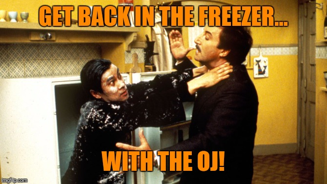 GET BACK IN THE FREEZER... WITH THE OJ! | made w/ Imgflip meme maker