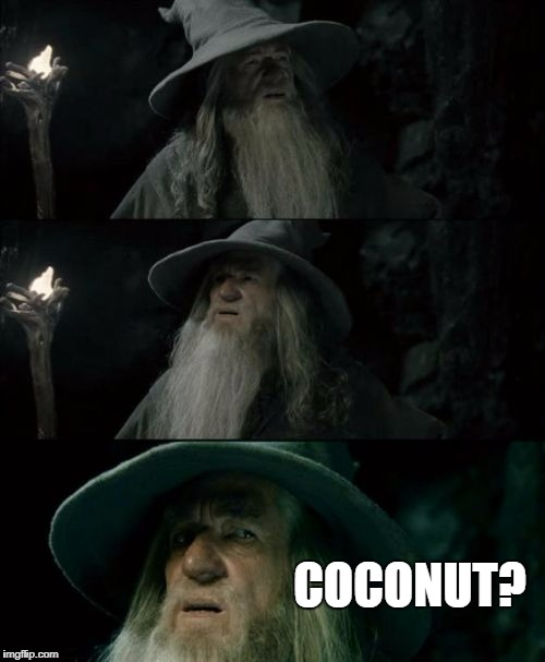Confused Gandalf Meme | COCONUT? | image tagged in memes,confused gandalf | made w/ Imgflip meme maker