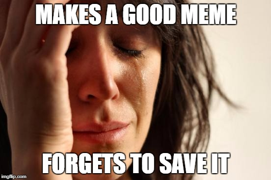 First World Problems Meme | MAKES A GOOD MEME FORGETS TO SAVE IT | image tagged in memes,first world problems | made w/ Imgflip meme maker