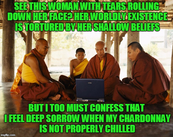 this is why I had the wine fridge installed in my cell, my young learners | SEE THIS WOMAN WITH TEARS ROLLING DOWN HER FACE? HER WORLDLY EXISTENCE IS TORTURED BY HER SHALLOW BELIEFS BUT I TOO MUST CONFESS THAT I FEEL | image tagged in monks memeing,memes,first world problems,monks | made w/ Imgflip meme maker