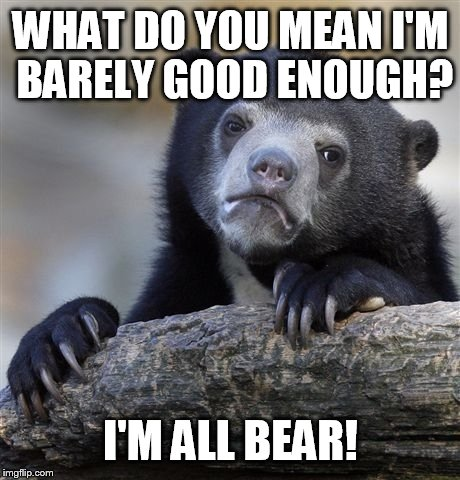 Confession Bear Meme | WHAT DO YOU MEAN I'M BARELY GOOD ENOUGH? I'M ALL BEAR! | image tagged in memes,confession bear | made w/ Imgflip meme maker
