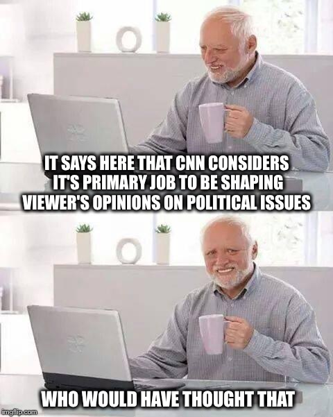 Who knew? | IT SAYS HERE THAT CNN CONSIDERS IT'S PRIMARY JOB TO BE SHAPING VIEWER'S OPINIONS ON POLITICAL ISSUES WHO WOULD HAVE THOUGHT THAT | image tagged in memes,hide the pain harold,cnn,opinion,fake news | made w/ Imgflip meme maker