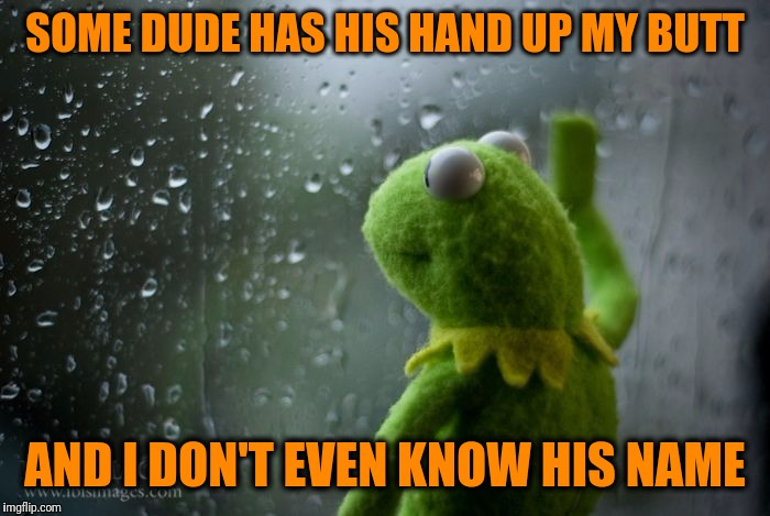 Rainy Day Thoughts | SOME DUDE HAS HIS HAND UP MY BUTT AND I DON'T EVEN KNOW HIS NAME | image tagged in kermit window | made w/ Imgflip meme maker