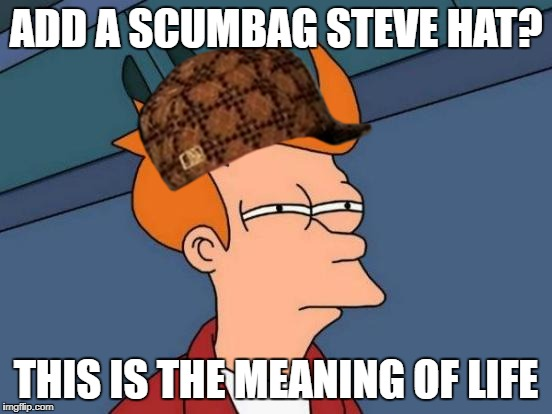 Futurama Fry Meme | ADD A SCUMBAG STEVE HAT? THIS IS THE MEANING OF LIFE | image tagged in memes,futurama fry,scumbag | made w/ Imgflip meme maker