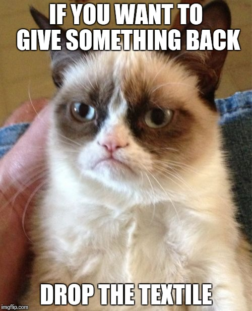 Grumpy Cat Meme | IF YOU WANT TO GIVE SOMETHING BACK DROP THE TEXTILE | image tagged in memes,grumpy cat | made w/ Imgflip meme maker