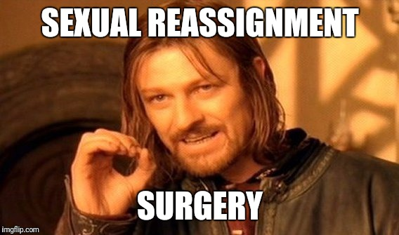One Does Not Simply Meme | SEXUAL REASSIGNMENT SURGERY | image tagged in memes,one does not simply | made w/ Imgflip meme maker