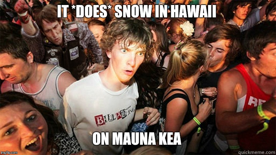 Yes, you mental midgets, IT DOES SNOW in bloody Hawaii!  | IT *DOES* SNOW IN HAWAII ON MAUNA KEA | image tagged in sudden clarity clarence large | made w/ Imgflip meme maker