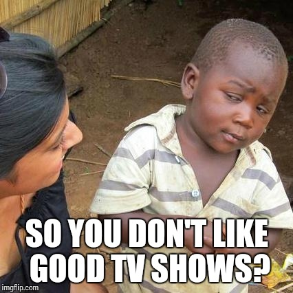 Third World Skeptical Kid Meme | SO YOU DON'T LIKE GOOD TV SHOWS? | image tagged in memes,third world skeptical kid | made w/ Imgflip meme maker