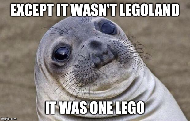 Awkward Moment Sealion Meme | EXCEPT IT WASN'T LEGOLAND IT WAS ONE LEGO | image tagged in memes,awkward moment sealion | made w/ Imgflip meme maker