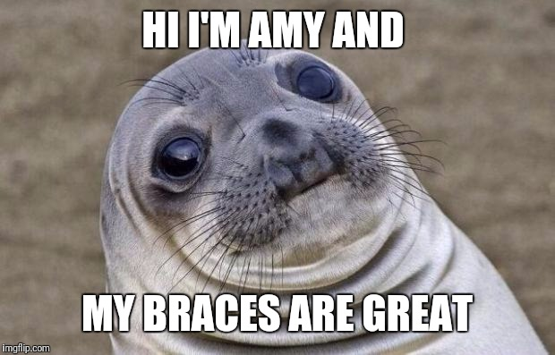 Awkward Moment Sealion Meme | HI I'M AMY AND MY BRACES ARE GREAT | image tagged in memes,awkward moment sealion | made w/ Imgflip meme maker