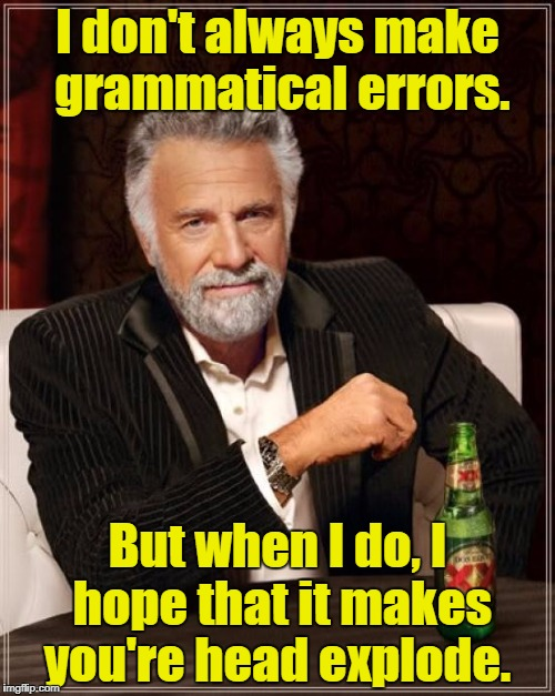 The Most Interesting Man In The World Meme | I don't always make grammatical errors. But when I do, I hope that it makes you're head explode. | image tagged in memes,the most interesting man in the world | made w/ Imgflip meme maker