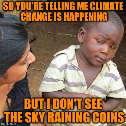Third World Skeptical Kid Meme | SO YOU'RE TELLING ME CLIMATE CHANGE IS HAPPENING BUT I DON'T SEE THE SKY RAINING COINS | image tagged in memes,third world skeptical kid | made w/ Imgflip meme maker