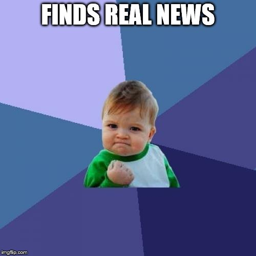 Success Kid Meme | FINDS REAL NEWS | image tagged in memes,success kid | made w/ Imgflip meme maker