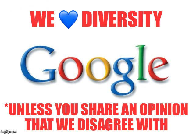 An employee was summarily fired for sharing his opinions on their diversity policies! |  WE 💙 DIVERSITY; *UNLESS YOU SHARE AN OPINION THAT WE DISAGREE WITH | image tagged in google,diversity,you're fired,opinions | made w/ Imgflip meme maker