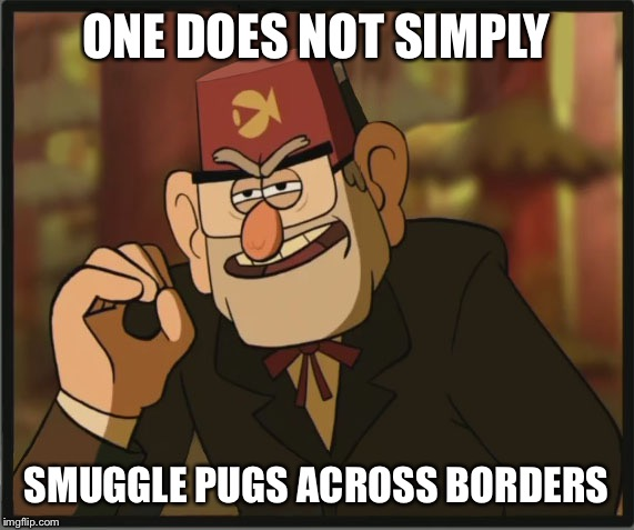 One Does Not Simply: Gravity Falls Version | ONE DOES NOT SIMPLY SMUGGLE PUGS ACROSS BORDERS | image tagged in one does not simply gravity falls version | made w/ Imgflip meme maker