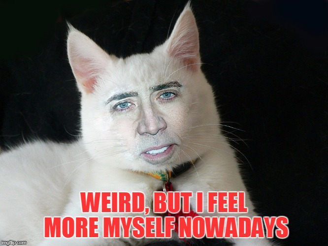 WEIRD, BUT I FEEL MORE MYSELF NOWADAYS | made w/ Imgflip meme maker