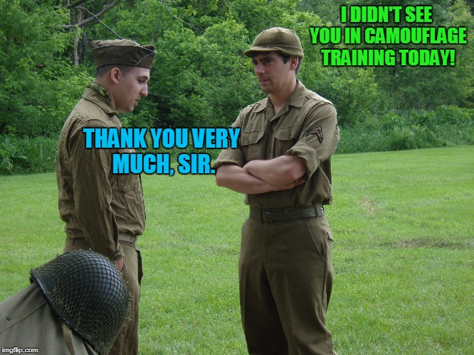 Soldiers talking | I DIDN'T SEE YOU IN CAMOUFLAGE TRAINING TODAY! THANK YOU VERY MUCH, SIR. | image tagged in memes,soldiers talking,camouflage | made w/ Imgflip meme maker