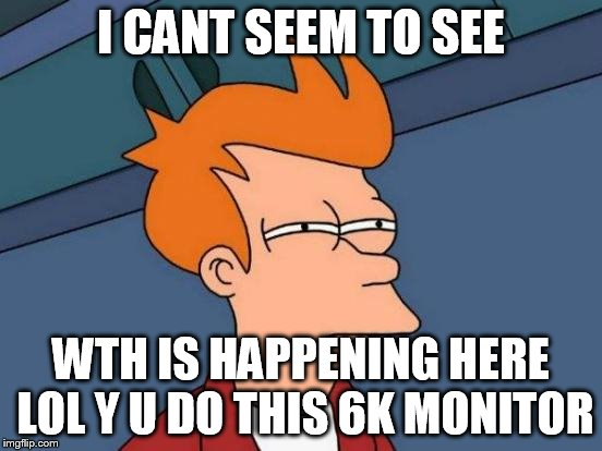 Futurama Fry Meme | I CANT SEEM TO SEE WTH IS HAPPENING HERE LOL Y U DO THIS 6K MONITOR | image tagged in memes,futurama fry | made w/ Imgflip meme maker