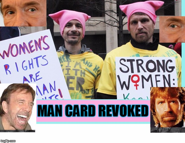 Wear The Hats - Face the Consequences | MAN CARD REVOKED | image tagged in vince vance,vagina hats,women's rights,pussies,international women's day,chuck norris | made w/ Imgflip meme maker
