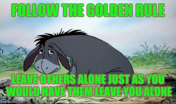 When you're depressed | FOLLOW THE GOLDEN RULE LEAVE OTHERS ALONE JUST AS YOU WOULD HAVE THEM LEAVE YOU ALONE | image tagged in eeyore | made w/ Imgflip meme maker