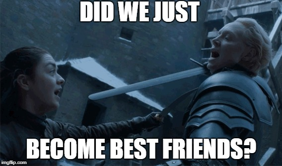 Swordplay | DID WE JUST BECOME BEST FRIENDS? | image tagged in stepbrothers,game of thrones,swordplay,female role models | made w/ Imgflip meme maker