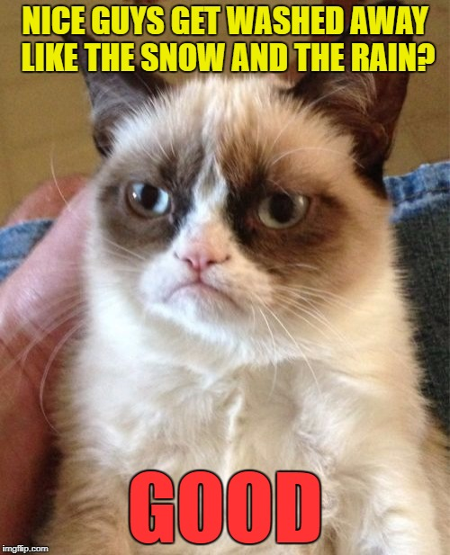 R.I.P. Glen Campbell | NICE GUYS GET WASHED AWAY LIKE THE SNOW AND THE RAIN? GOOD | image tagged in memes,grumpy cat,glen campbell | made w/ Imgflip meme maker