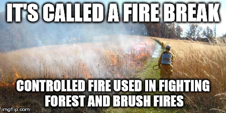 IT'S CALLED A FIRE BREAK CONTROLLED FIRE USED IN FIGHTING FOREST AND BRUSH FIRES | made w/ Imgflip meme maker