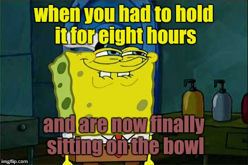 The face you make | when you had to hold it for eight hours and are now finally sitting on the bowl | image tagged in memes,dont you squidward | made w/ Imgflip meme maker