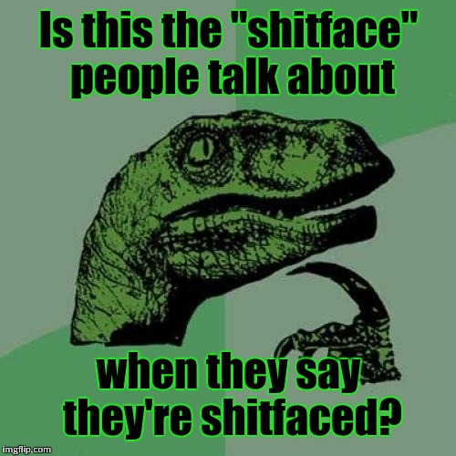 "Philosoraptor Meme | Is this the ""shitface"" people talk about when they say they're shitfaced? 