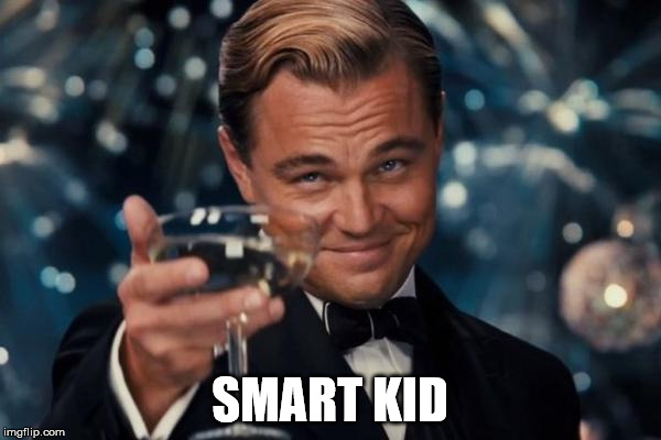 Leonardo Dicaprio Cheers Meme | SMART KID | image tagged in memes,leonardo dicaprio cheers | made w/ Imgflip meme maker