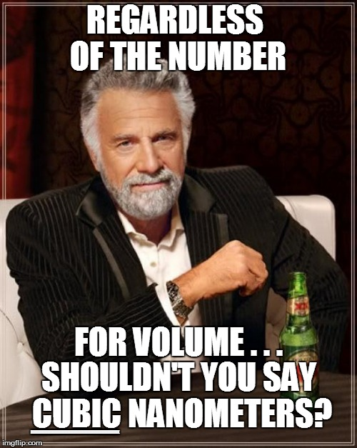 The Most Interesting Man In The World Meme | REGARDLESS OF THE NUMBER SHOULDN'T YOU SAY CUBIC NANOMETERS? EEEEEEEEEEEEEEEEEEEEEEEEEEEEEEEEEEEEEEEEEEEEEEEEEEEEEEEEEEEEEE FOR VOLUME . . . | image tagged in memes,the most interesting man in the world | made w/ Imgflip meme maker