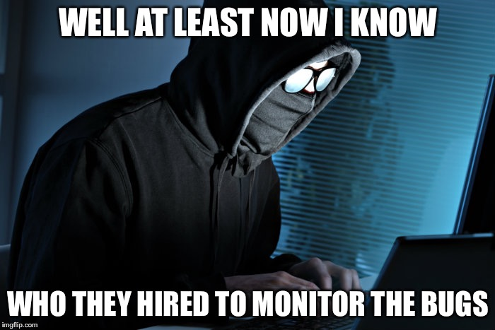 WELL AT LEAST NOW I KNOW WHO THEY HIRED TO MONITOR THE BUGS | made w/ Imgflip meme maker