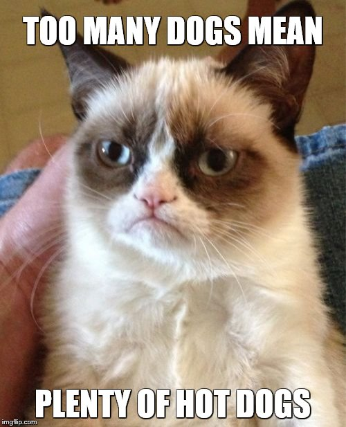 Grumpy Cat Meme | TOO MANY DOGS MEAN PLENTY OF HOT DOGS | image tagged in memes,grumpy cat | made w/ Imgflip meme maker