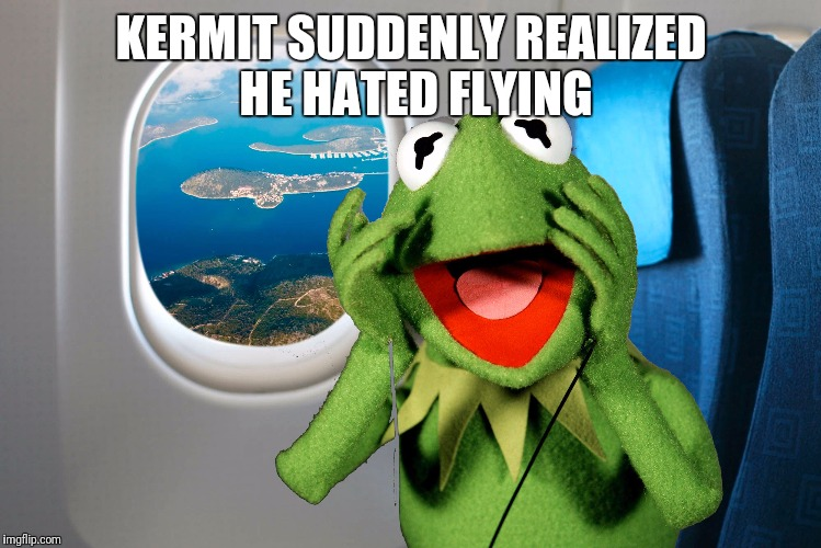 KERMIT SUDDENLY REALIZED HE HATED FLYING | image tagged in kermit on a plane | made w/ Imgflip meme maker
